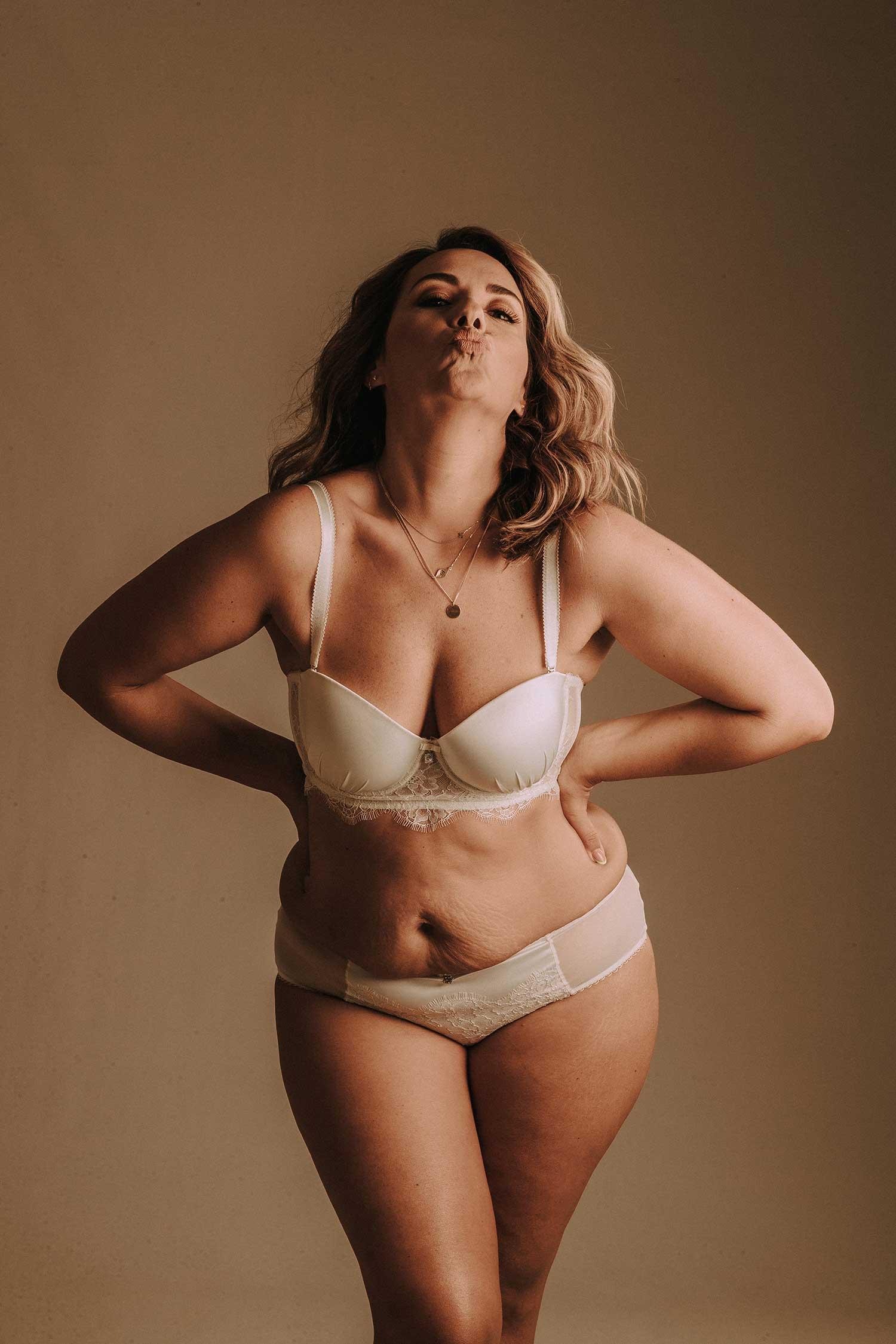 A girl loving her body