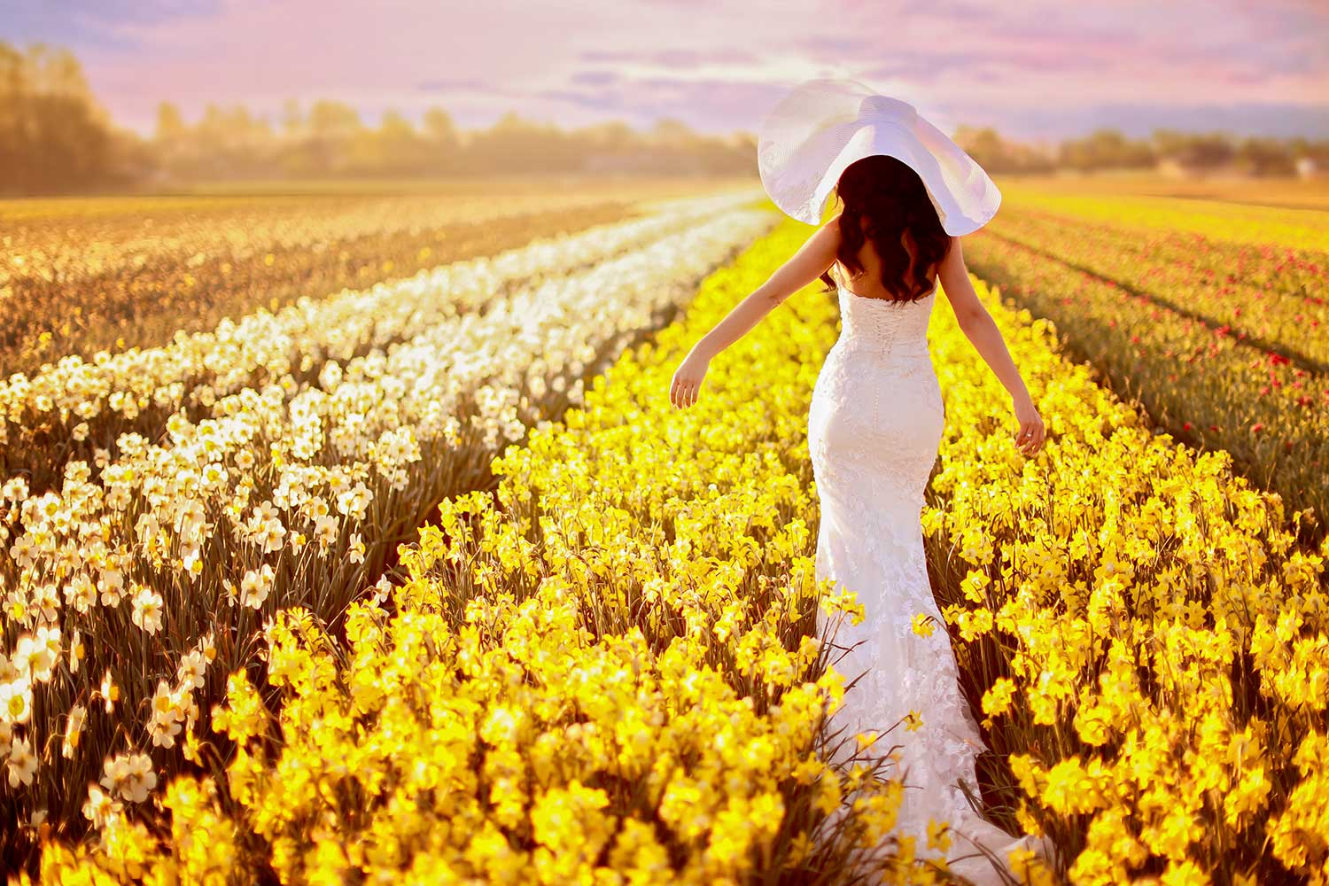 Bride and the flower field