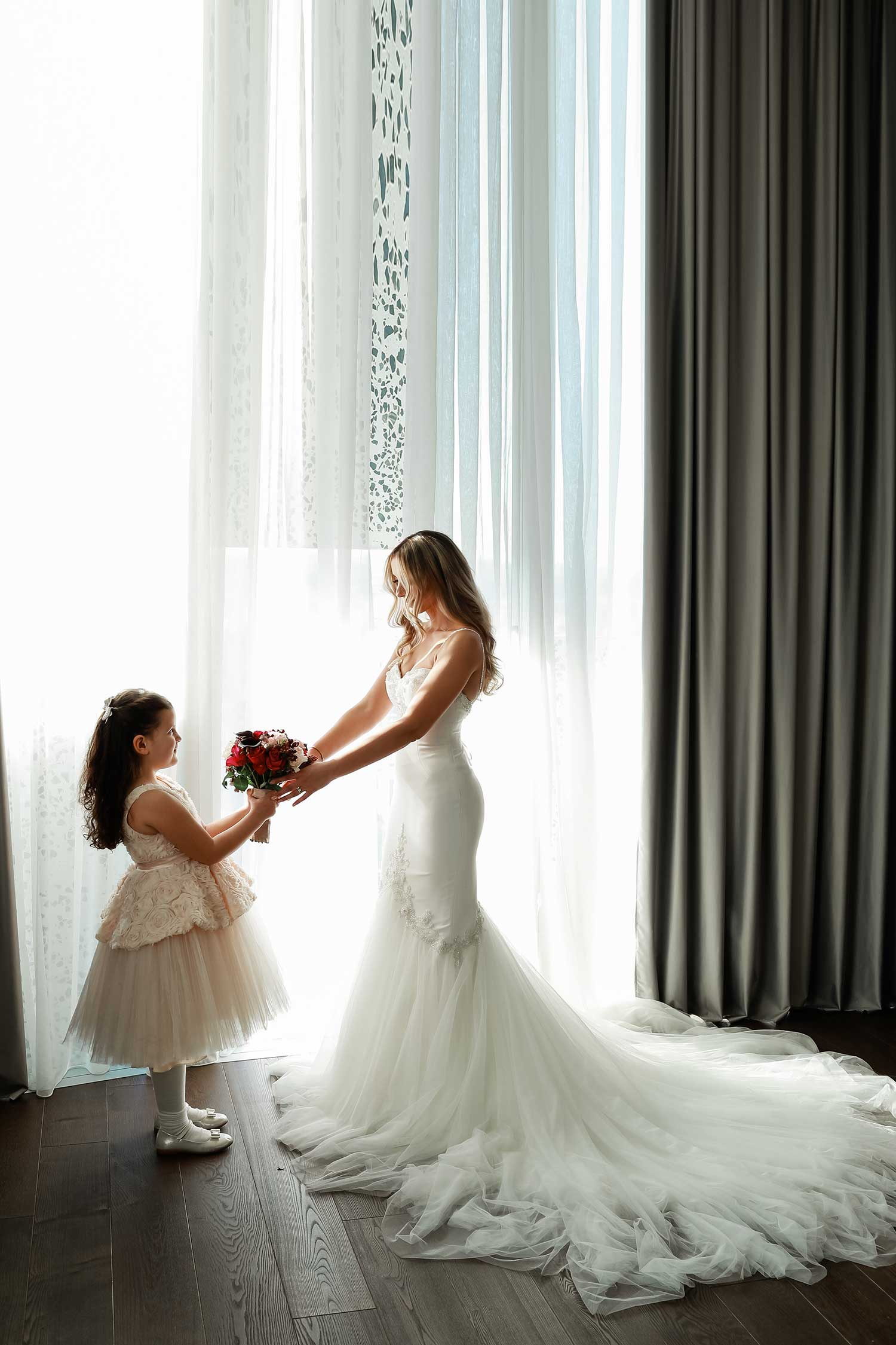 Bride and the little girl