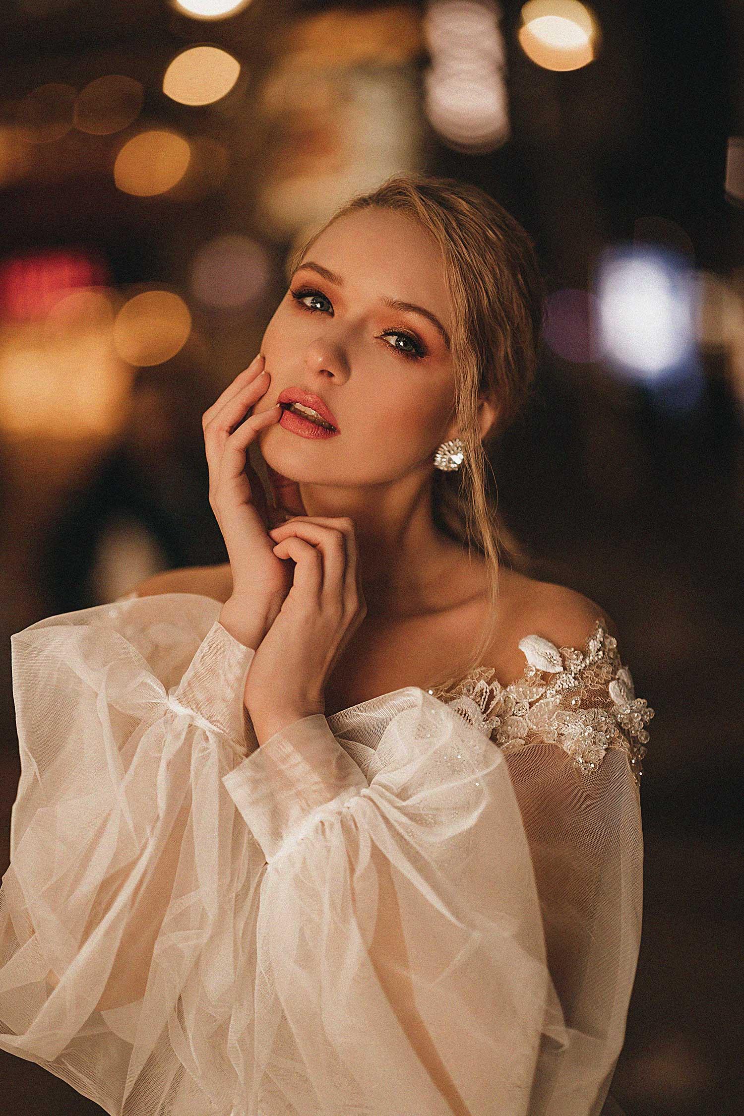 Bride posing at night