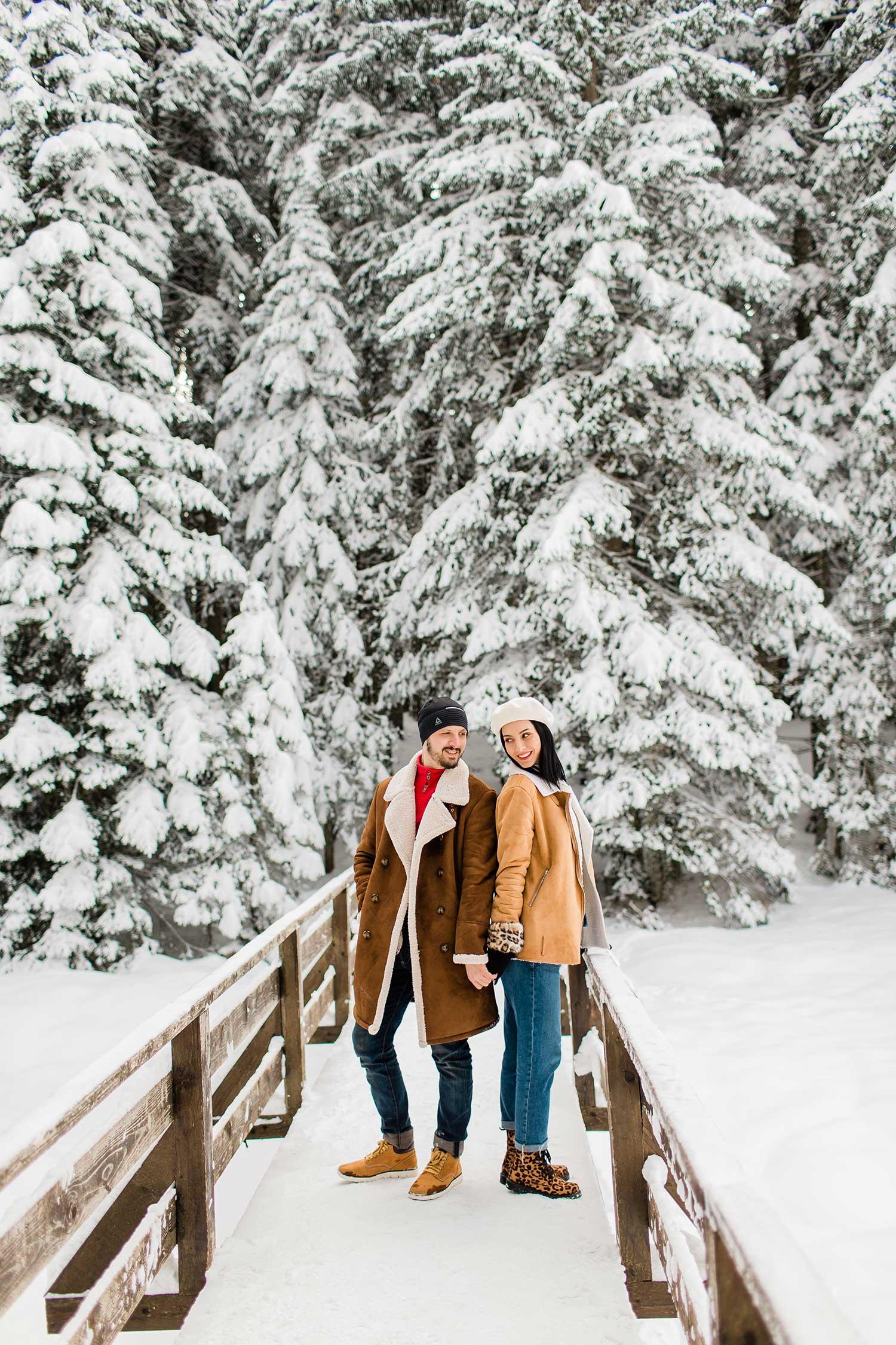 Couple in love posing in winter