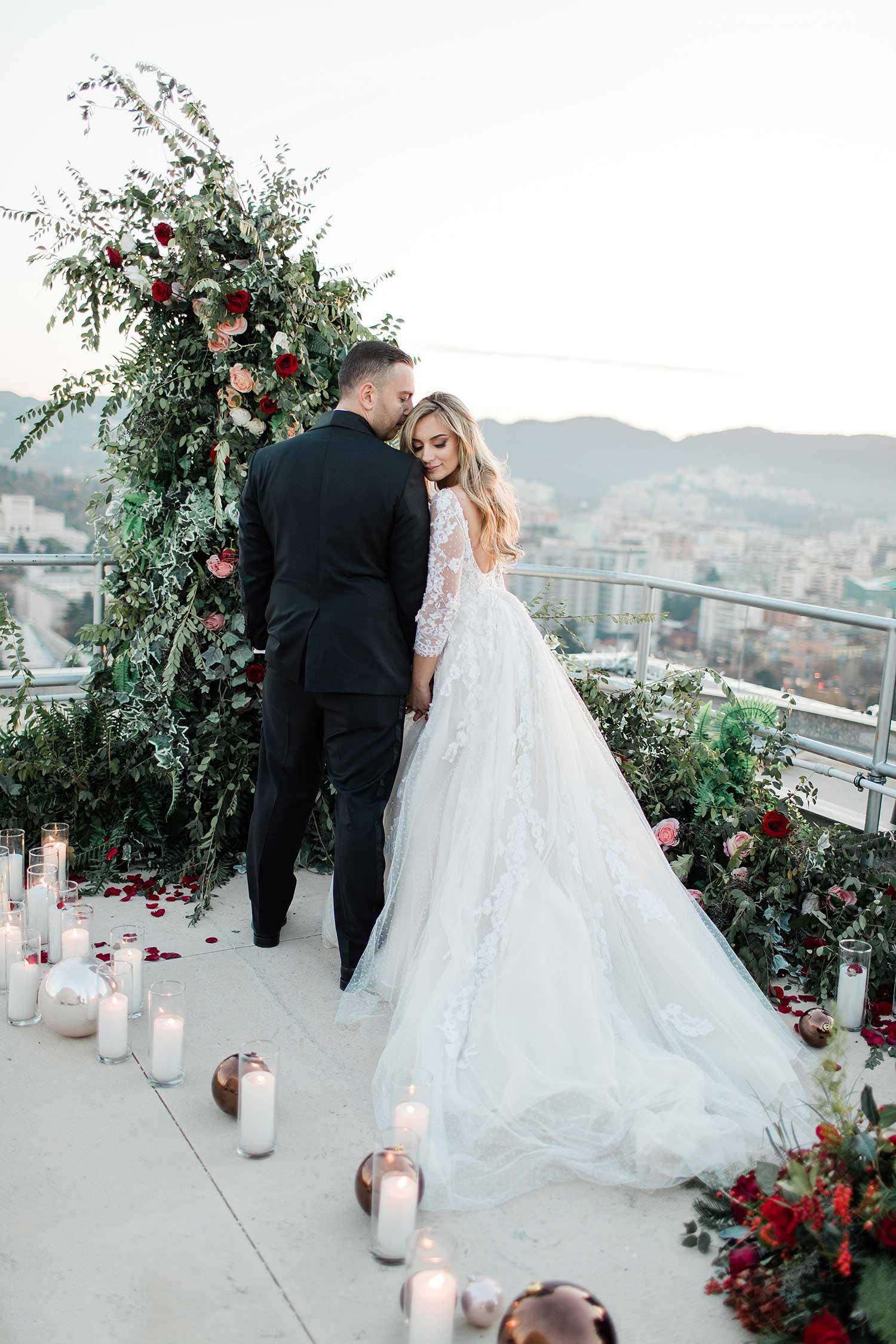Couple's ceremony photoshoot on the terrace