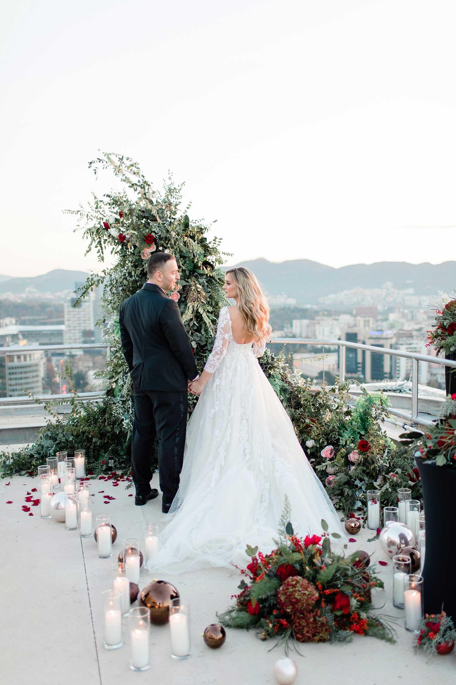 Couple's photoshoot on the terrace