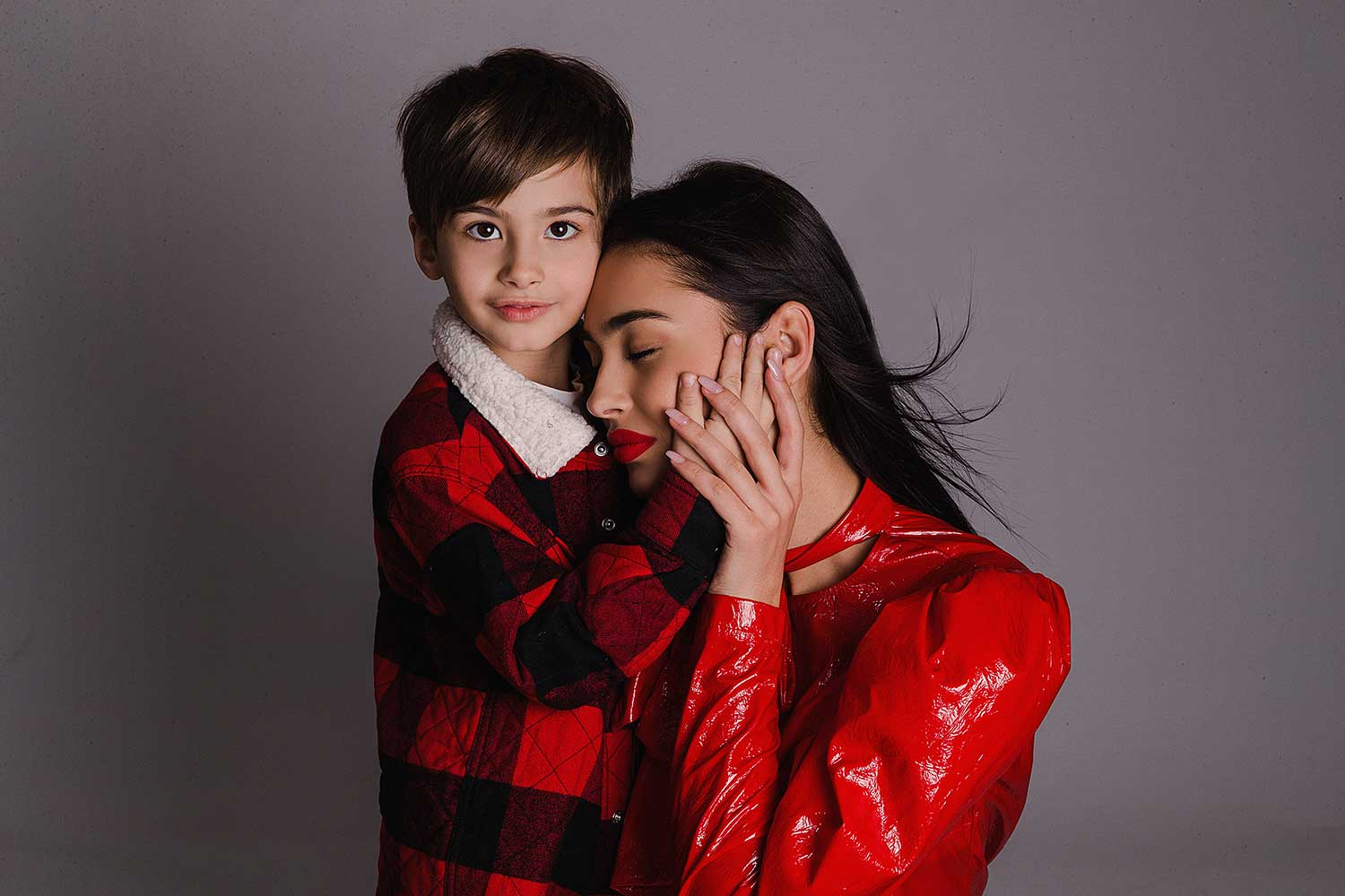 Love between a mother and son portrait