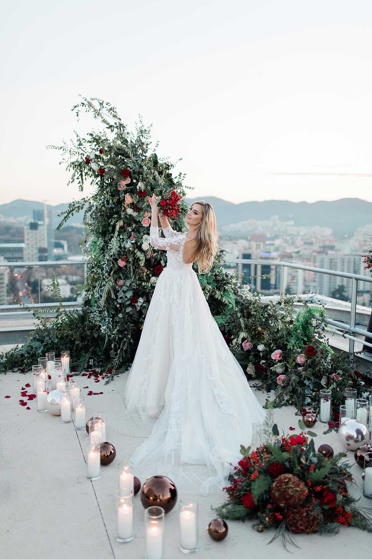 Lovely bride posing with the beautiful decor