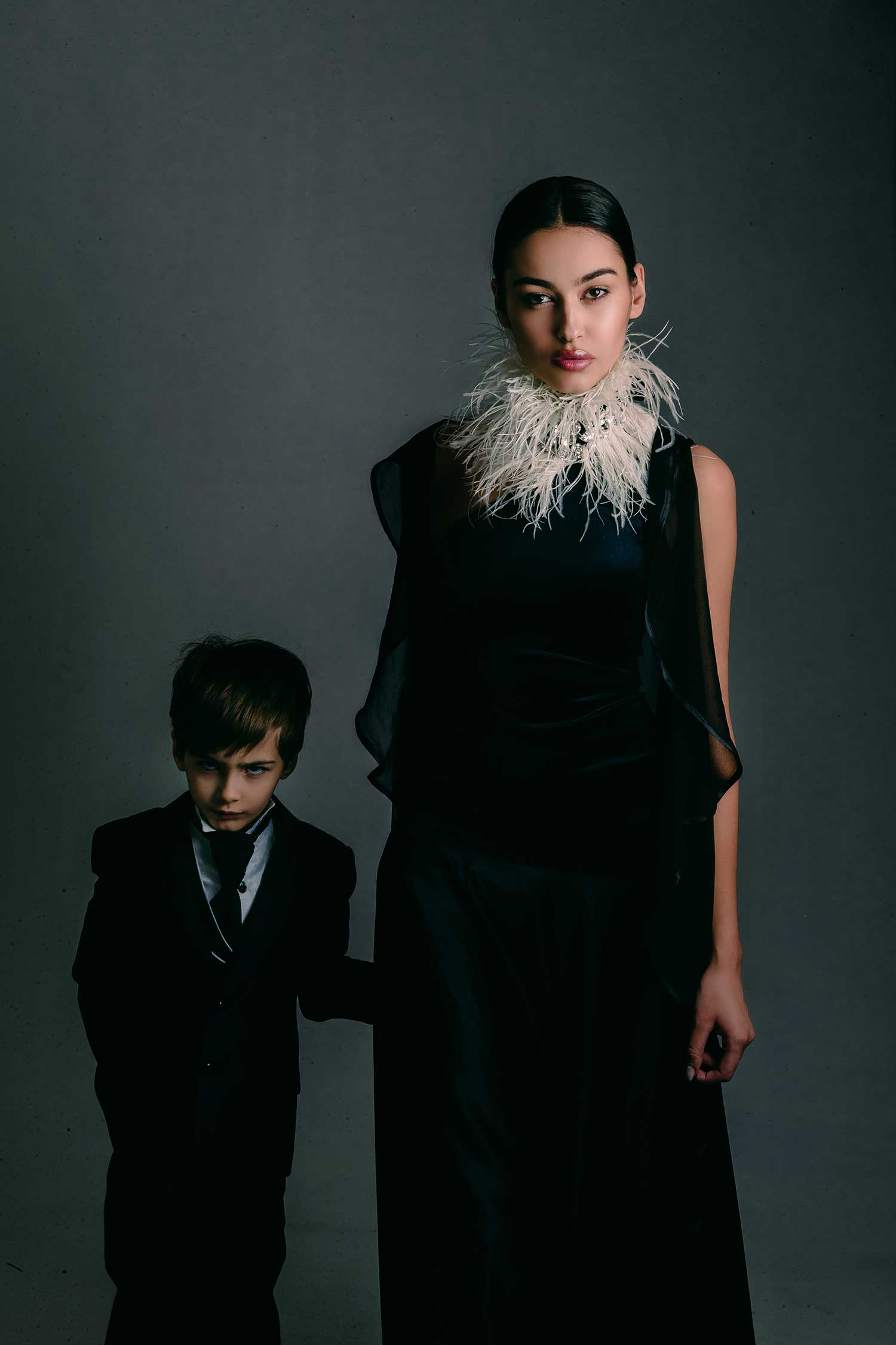 Model Adrola Dushi and her son posing together