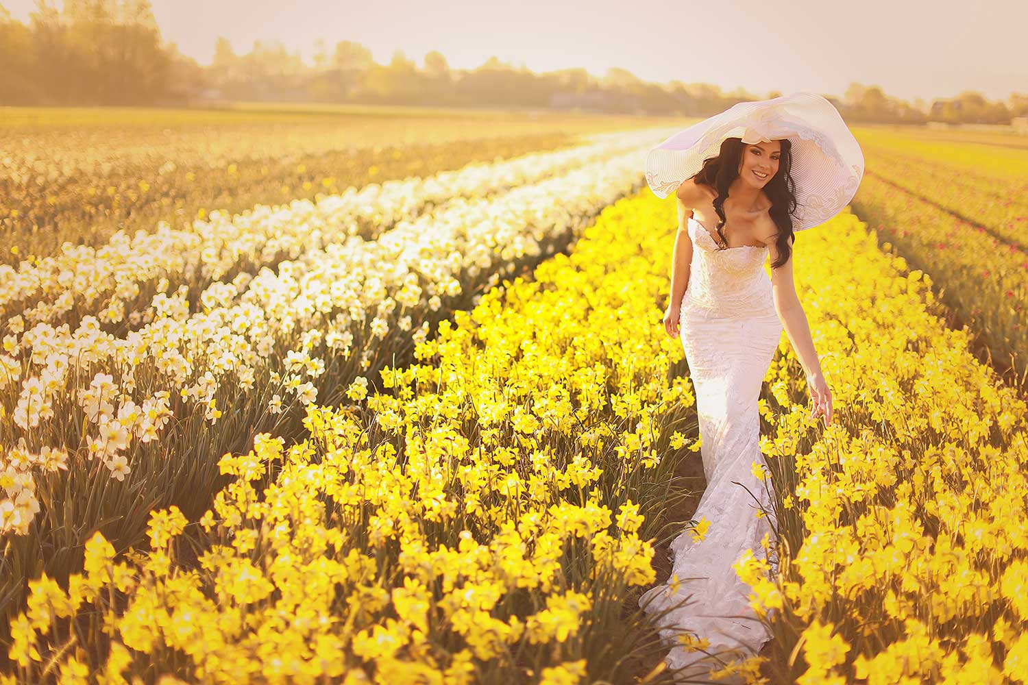 The bride and the flower field