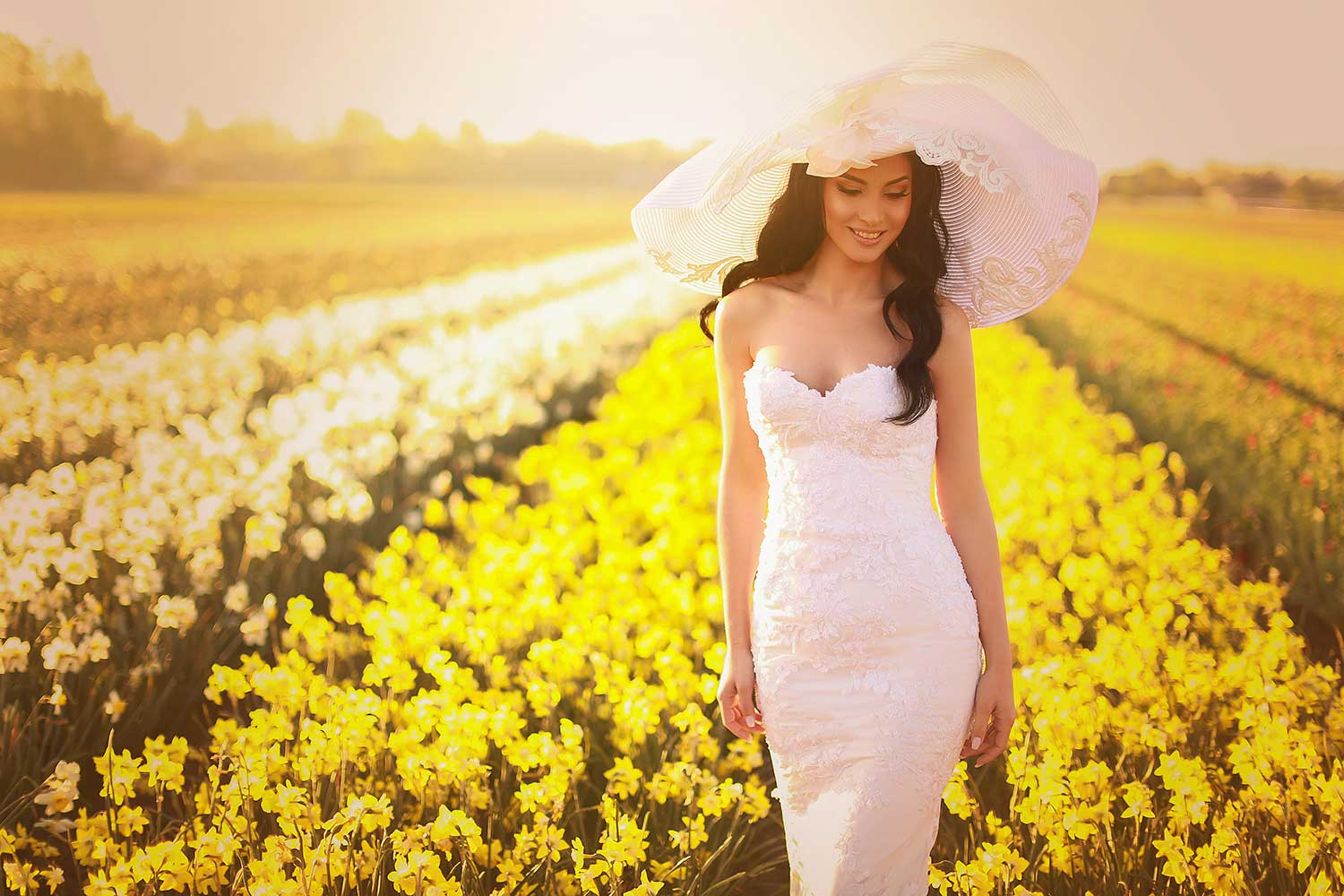 Yellow flower field and the bride
