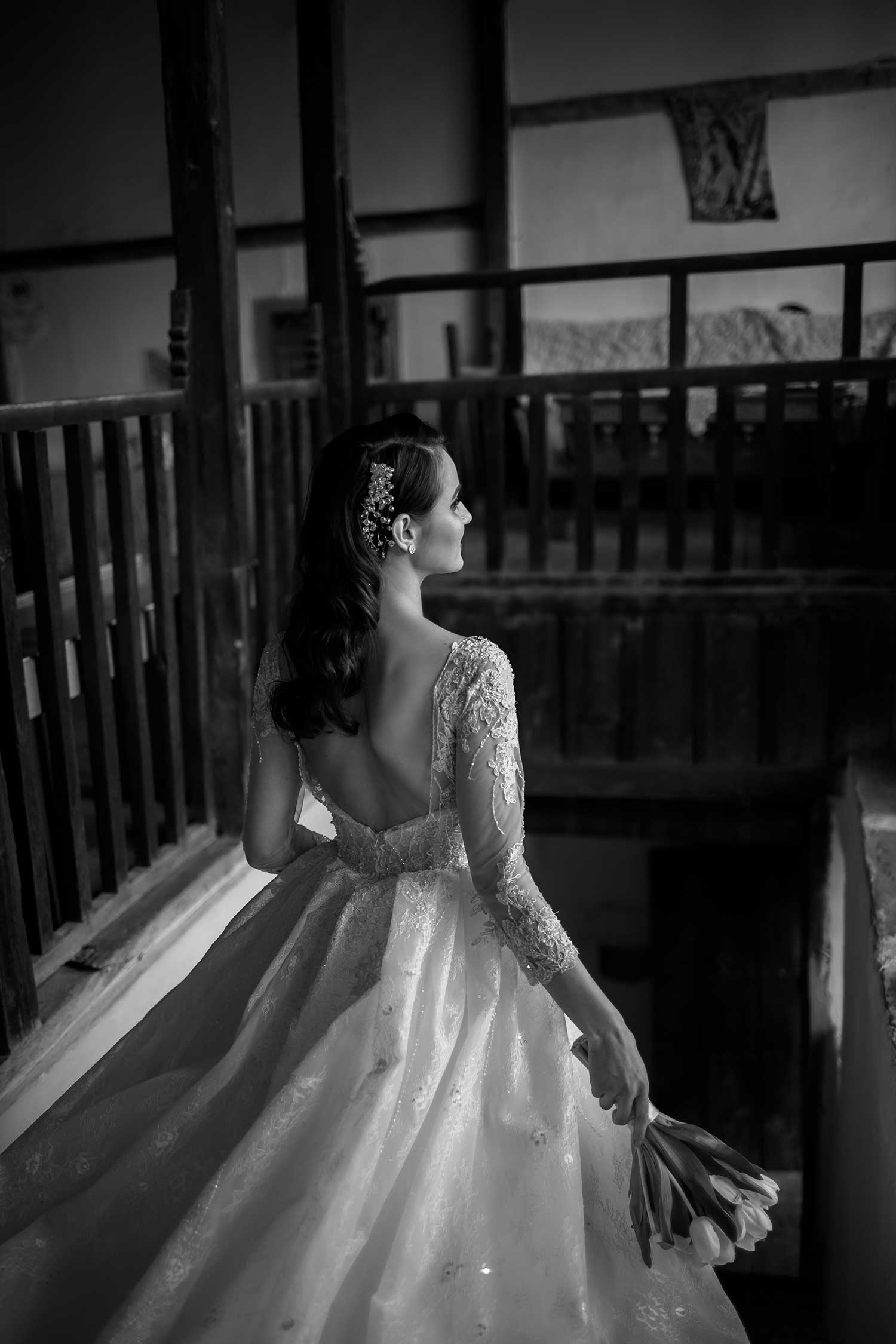 Beautiful black and white wedding photo of the bride