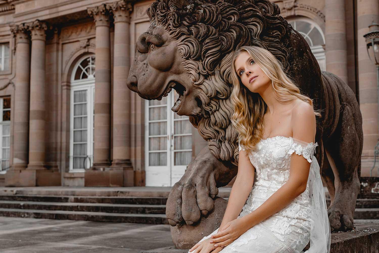 Beautiful model in bridal editorial