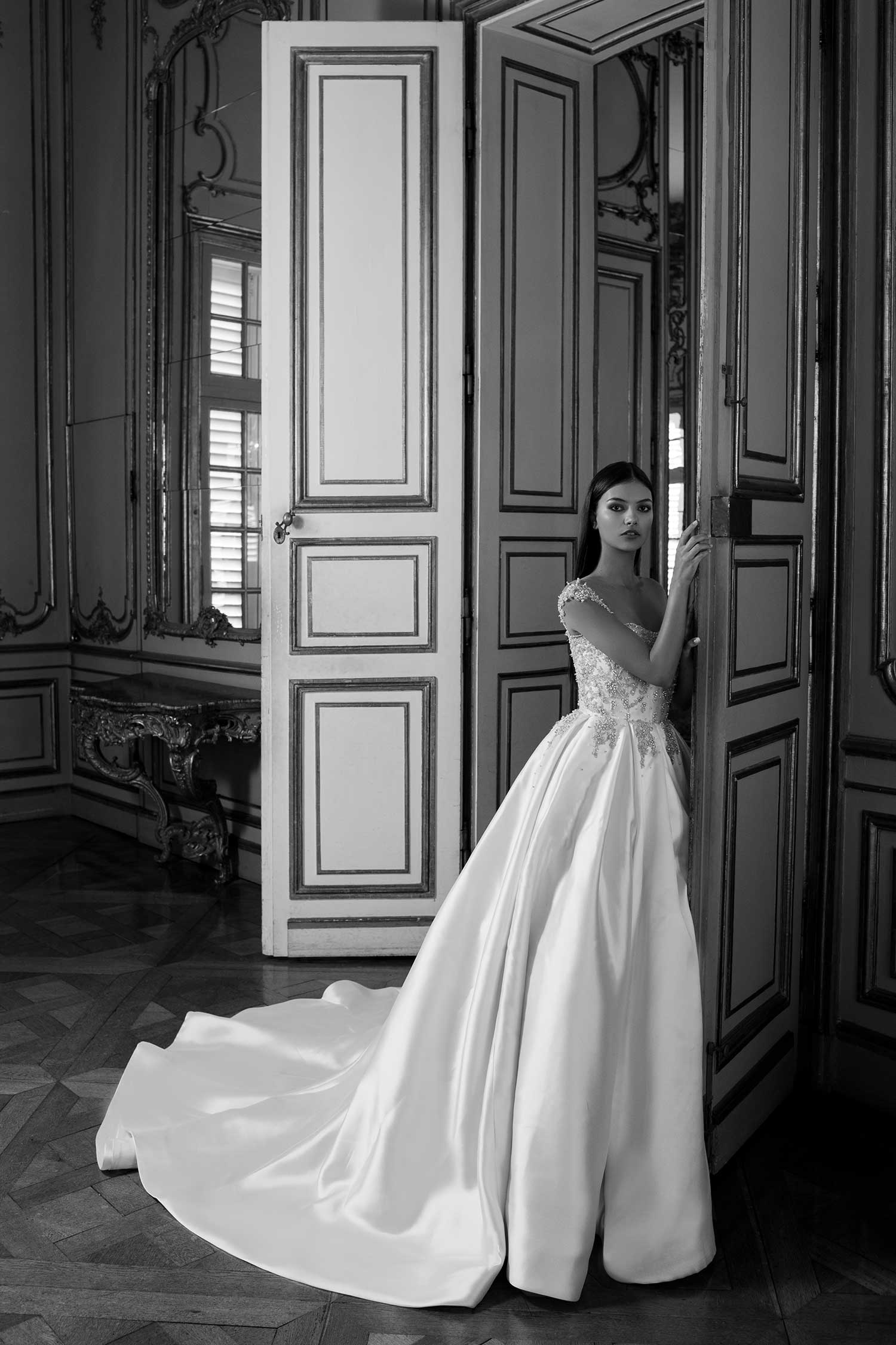 Black and white bridal editorial