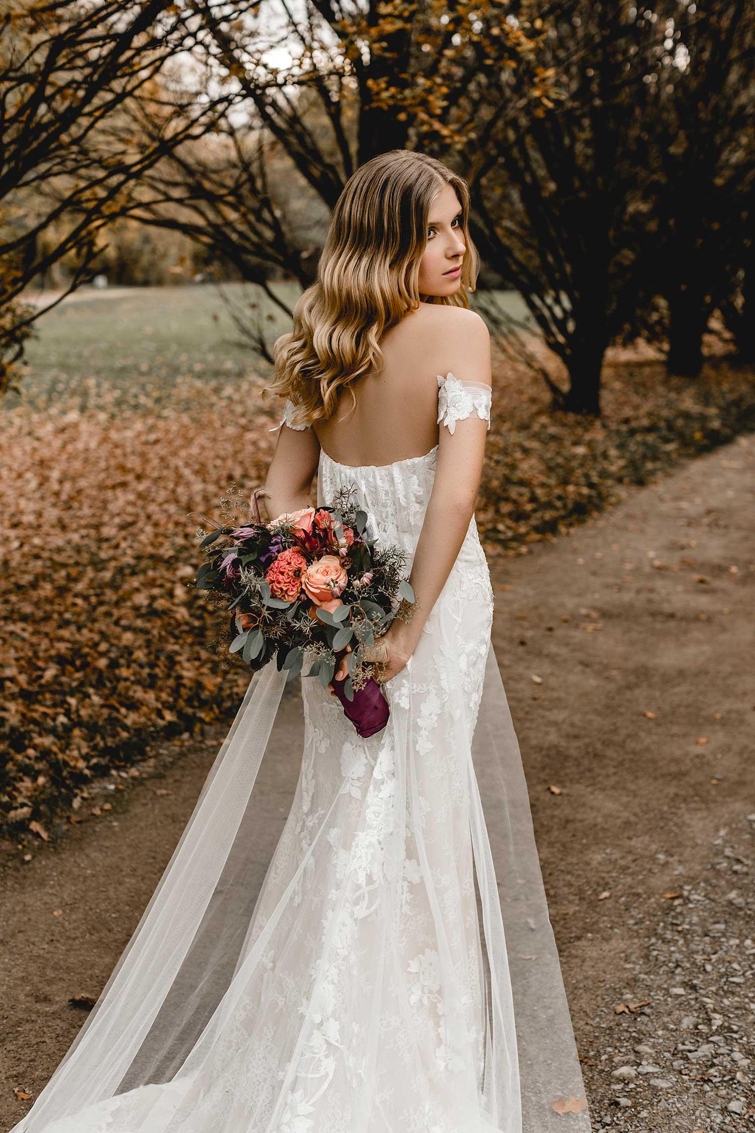 Bridal model posing in the park