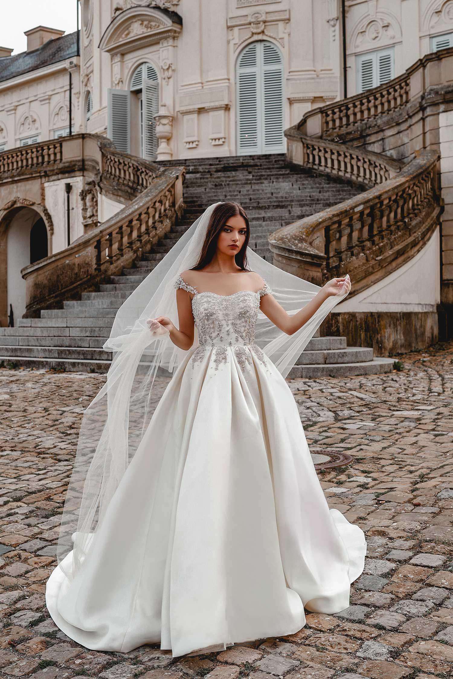 Bridal model wearing a veil