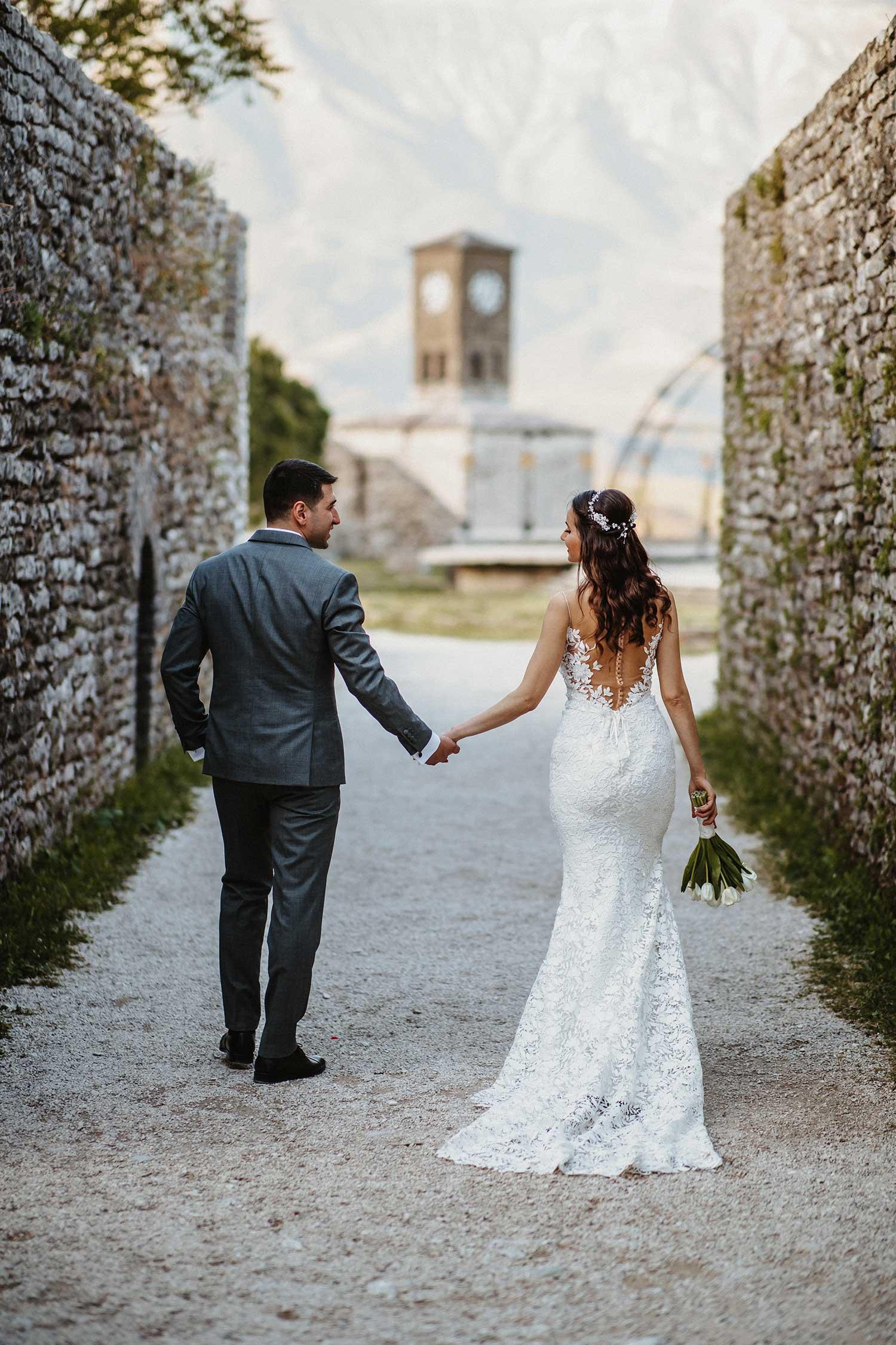 Bride and groom in beautiful Gjirokaster