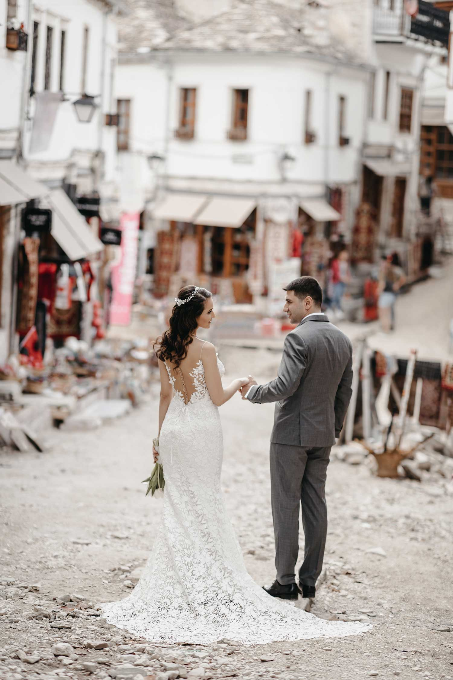 Bride and groom posing in the old bazaar
