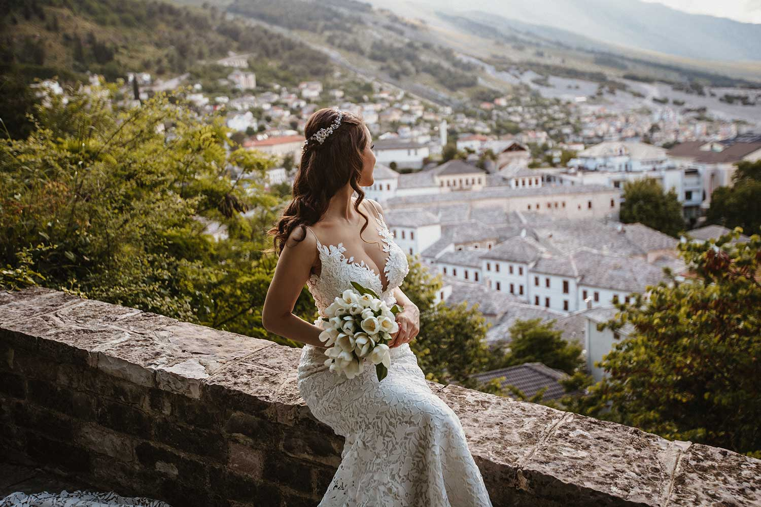 Bride posing in Gjirokaster Castle