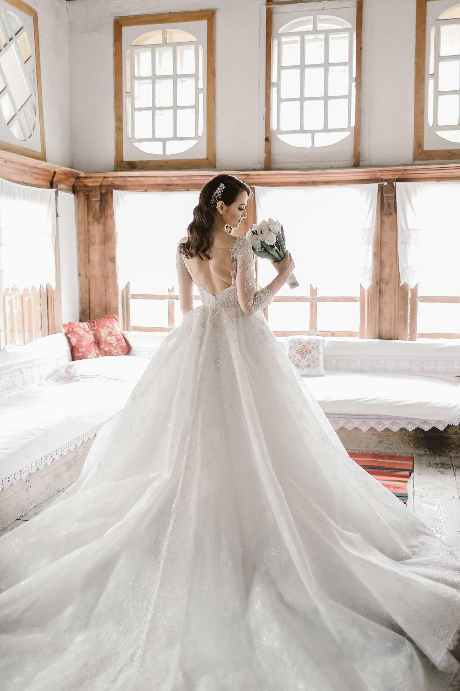 Bride wearing a ball gown wedding dress