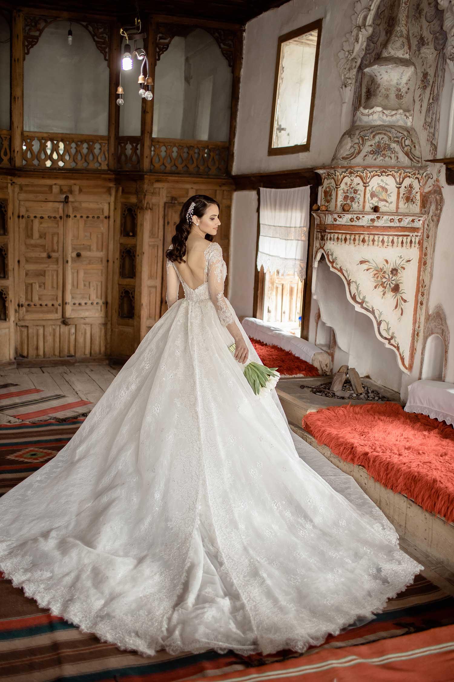 Bride's wedding photos inside a house in Gjirokaster