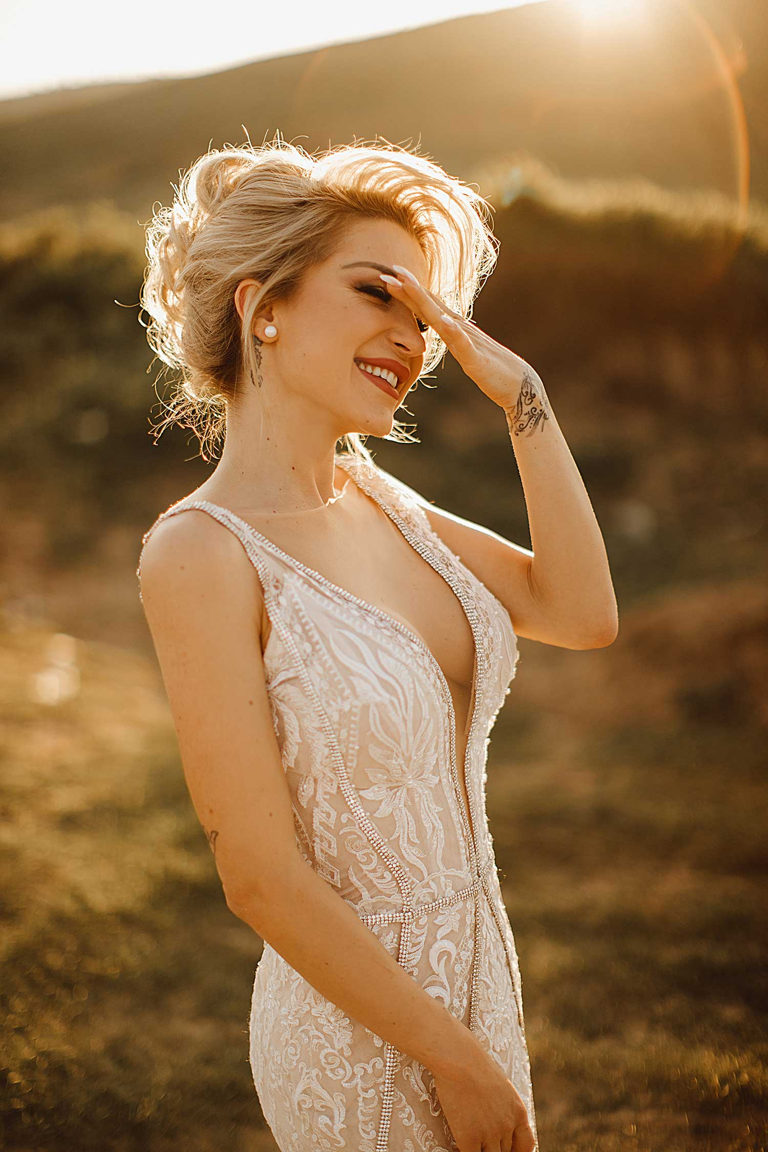 Cool bride in sunset