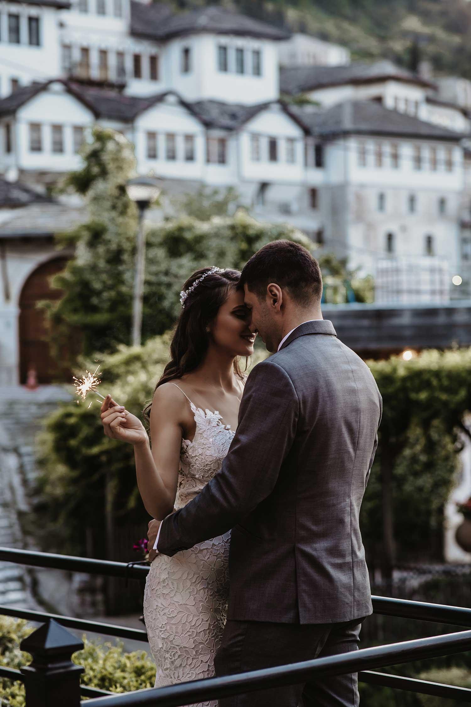 Couple sharing their love in Gjirokaster