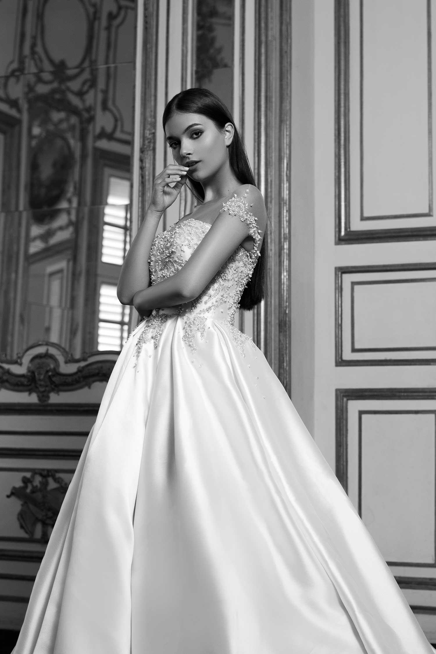 Delicate black and white bridal editorial