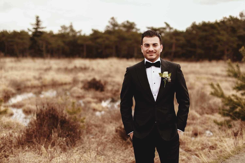 Happy groom wedding photoshoot