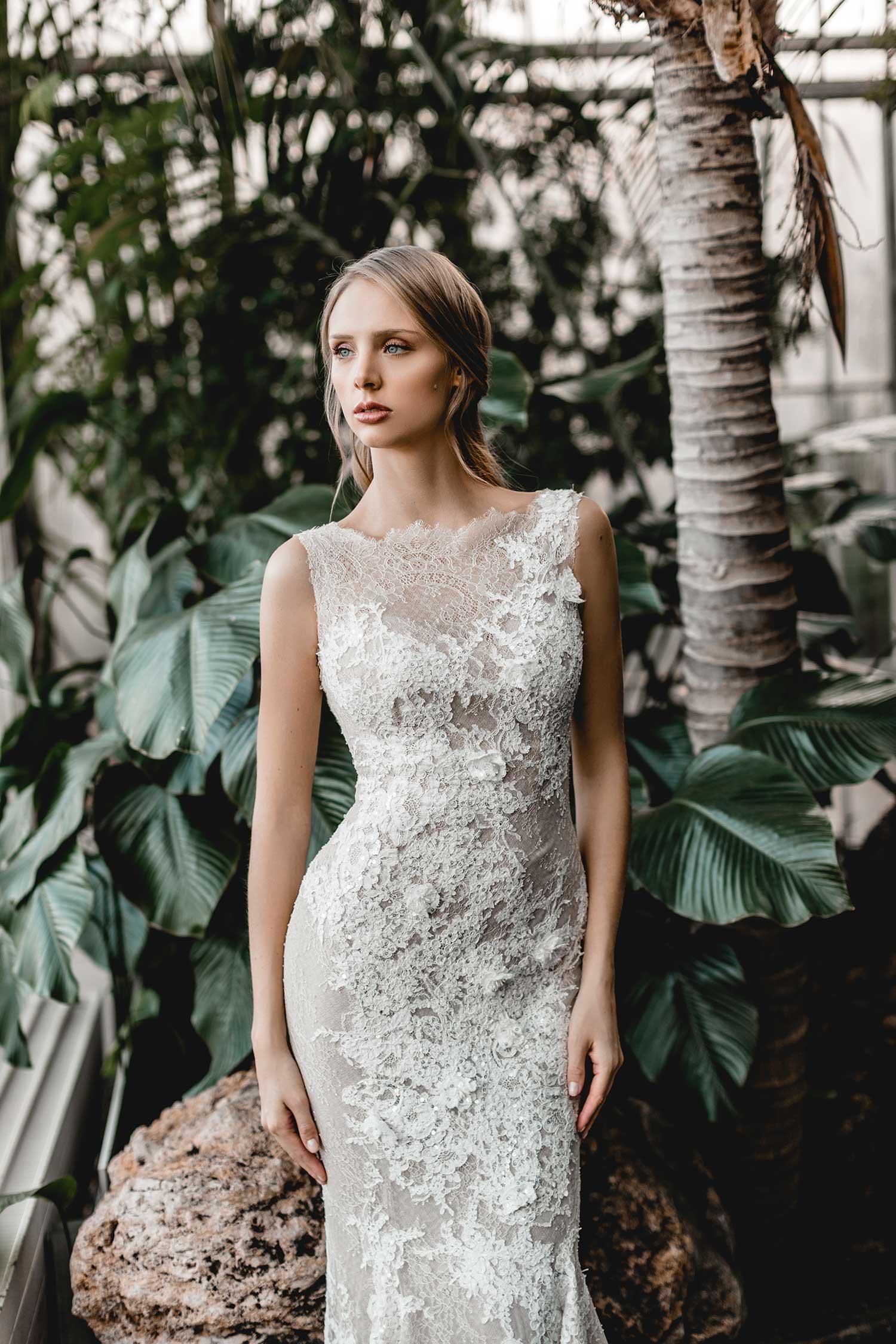 Model wearing a classy wedding dress