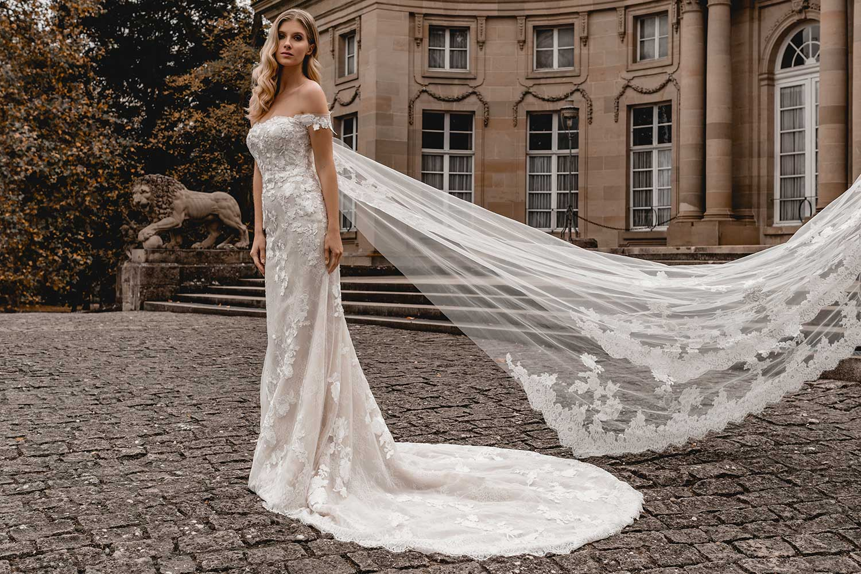 Model wearing an elegant wedding dress
