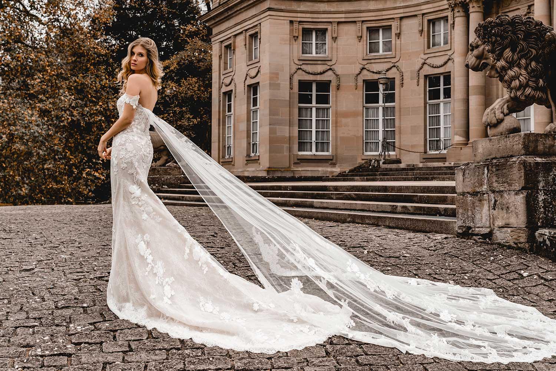 Model wearing an elegant wedding gown