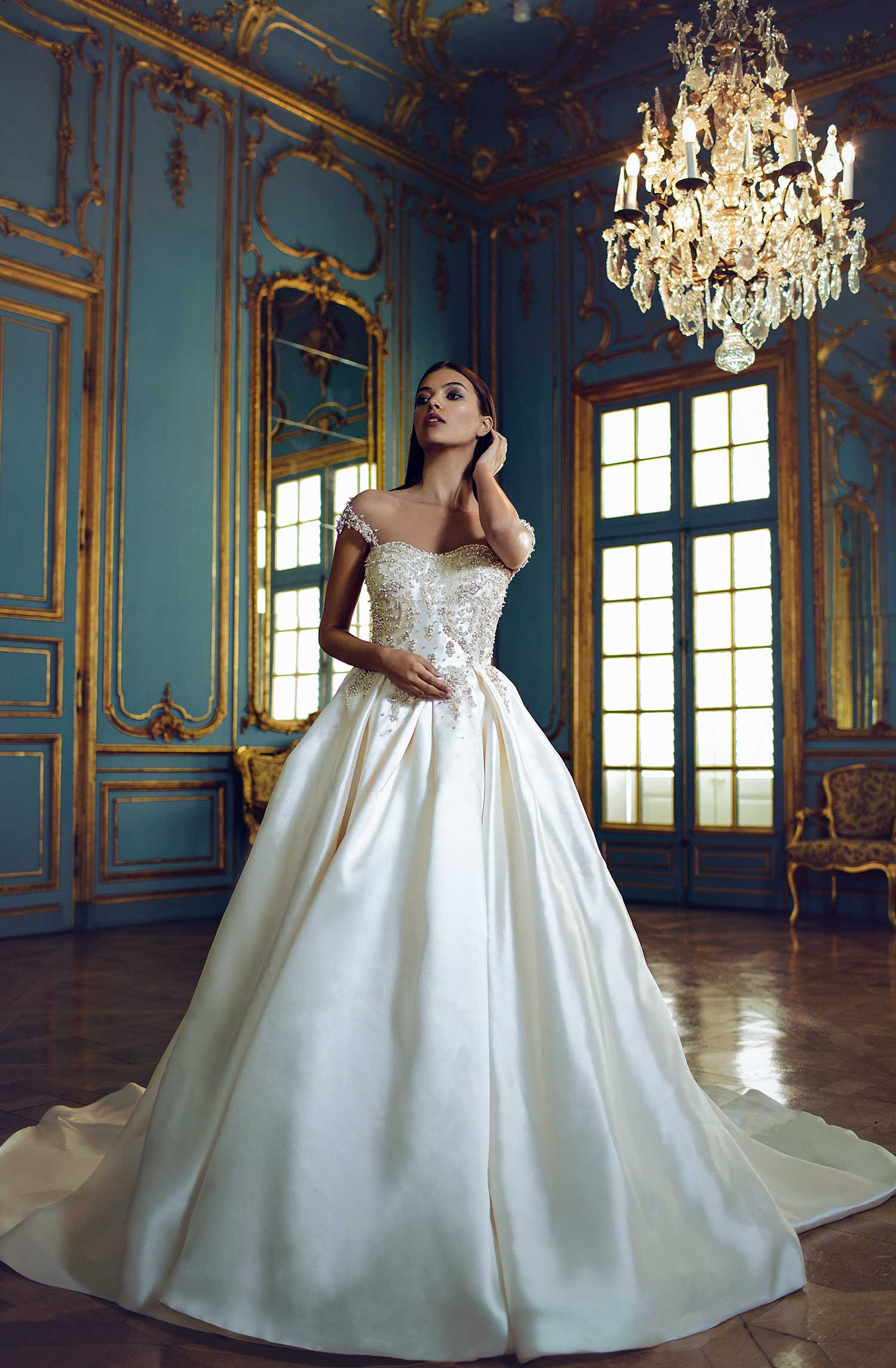 Satin wedding dress with pearl details