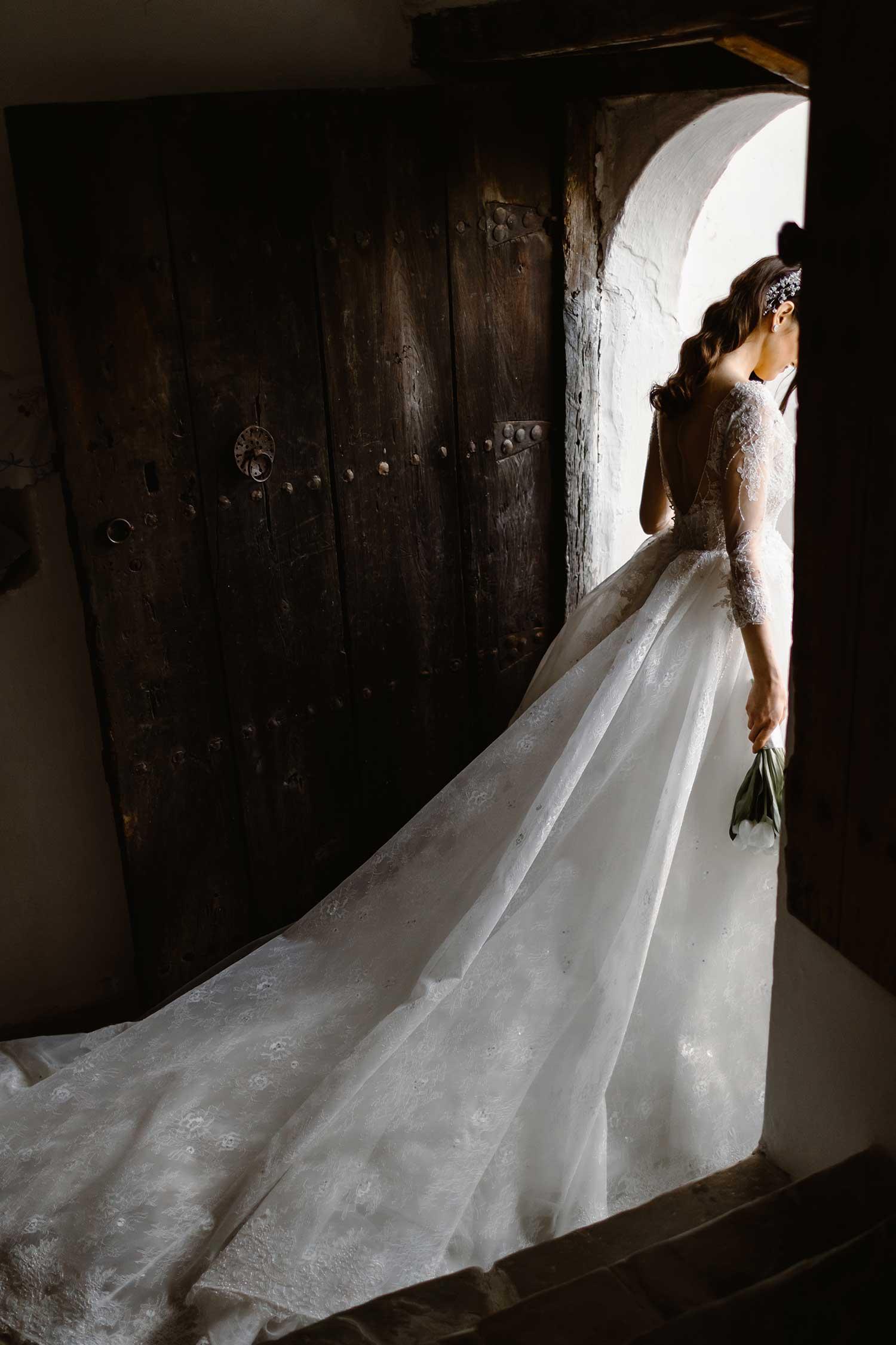 The beautiful bride leaving the house in Gjirokaster