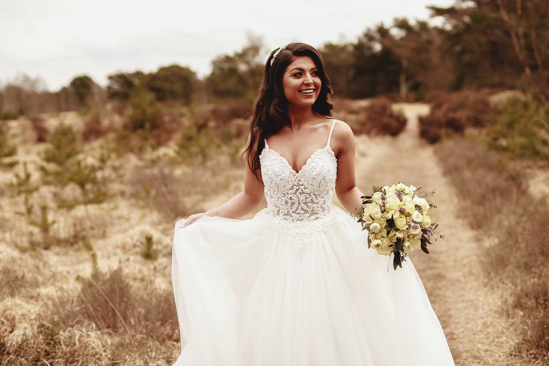 The bride feeling in love