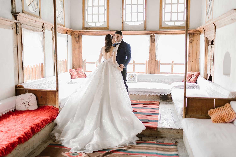 Wedding couple sharing their love in Gjirokaster