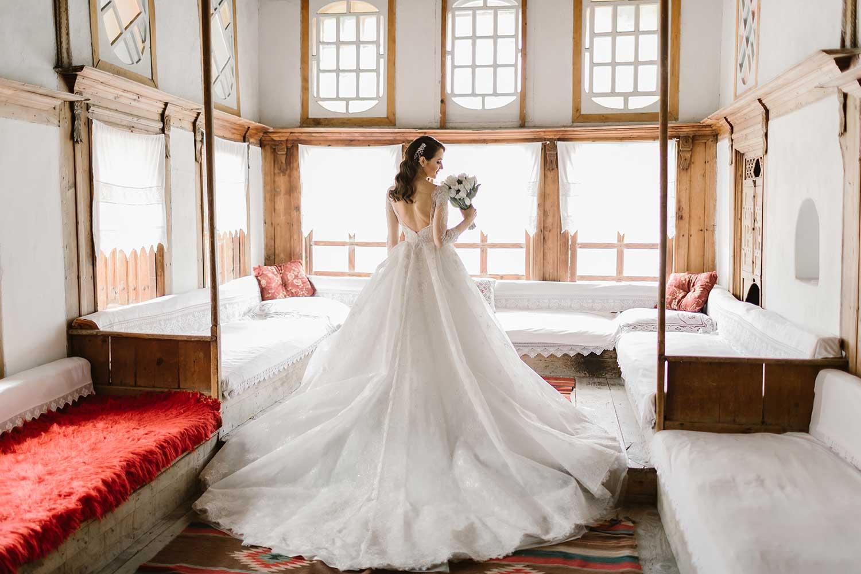 Wedding photos inside a house in Gjirokaster
