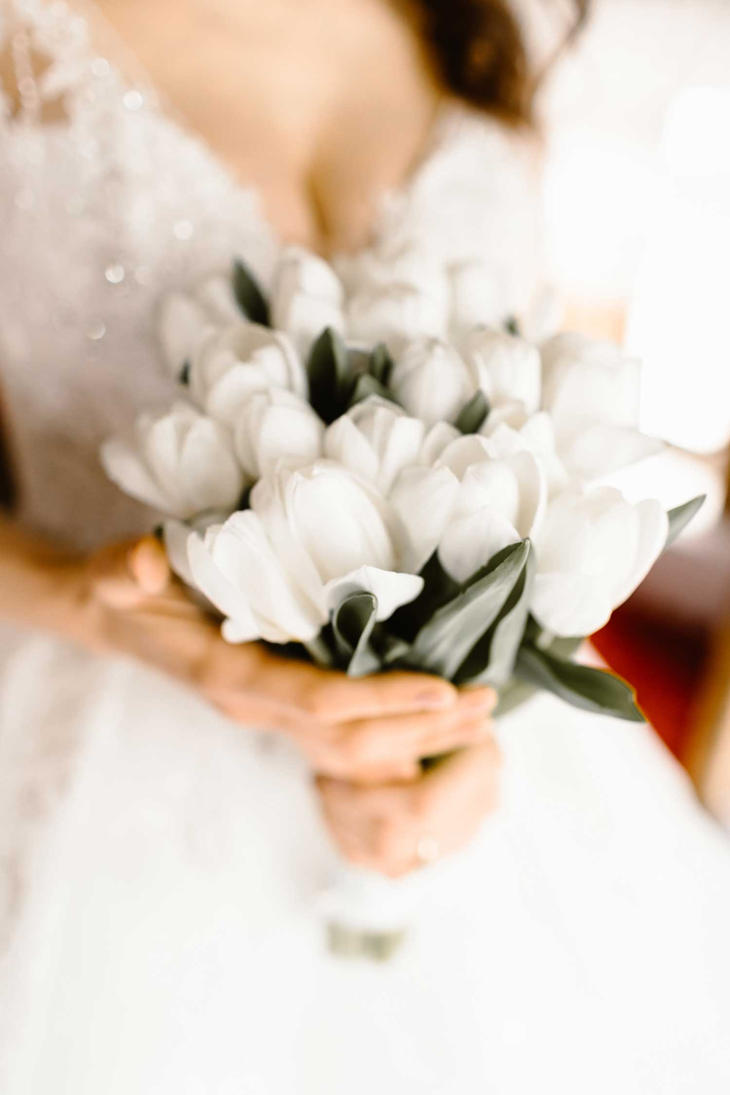 White tulips wedding bouquet