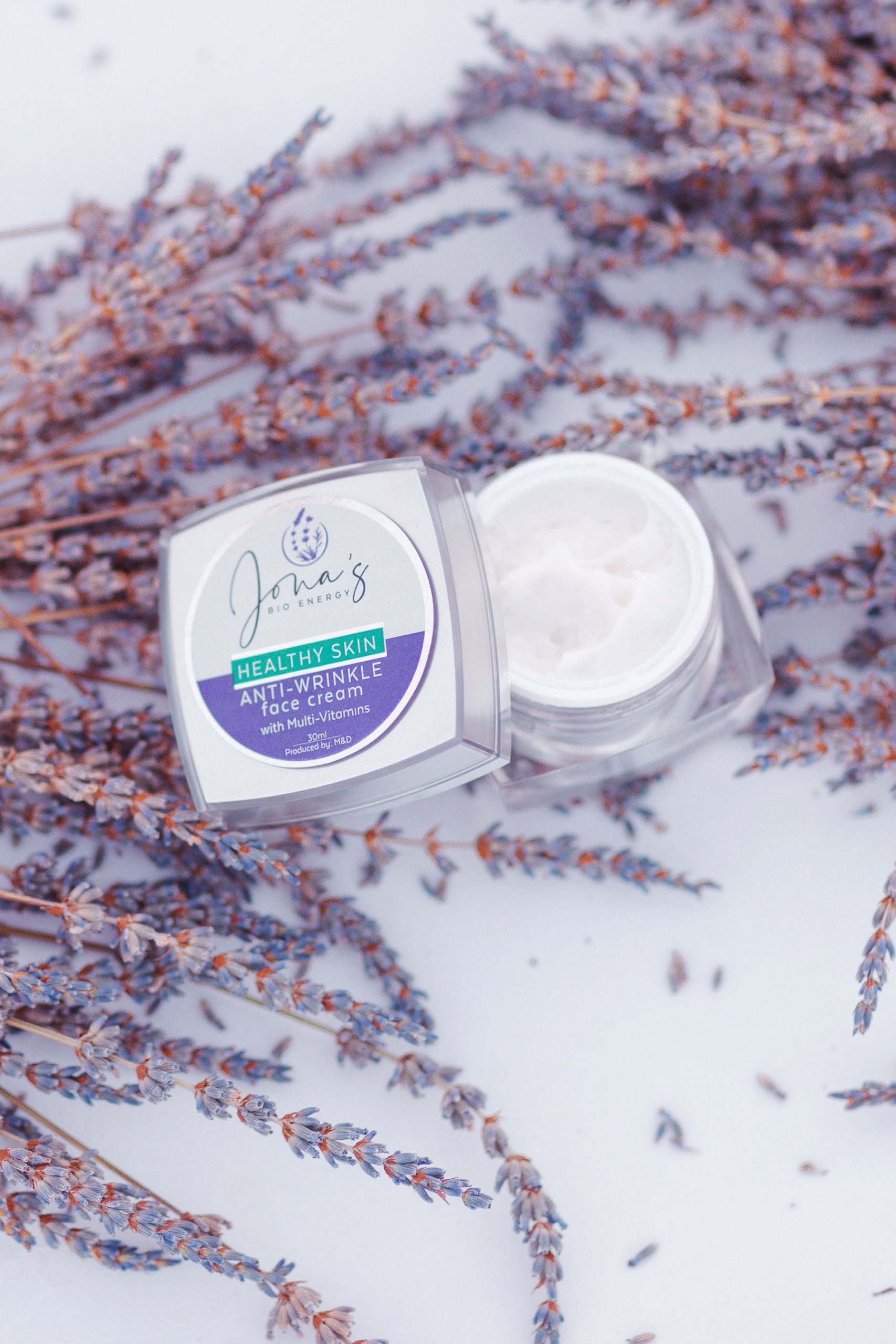 Lavender face cream photography