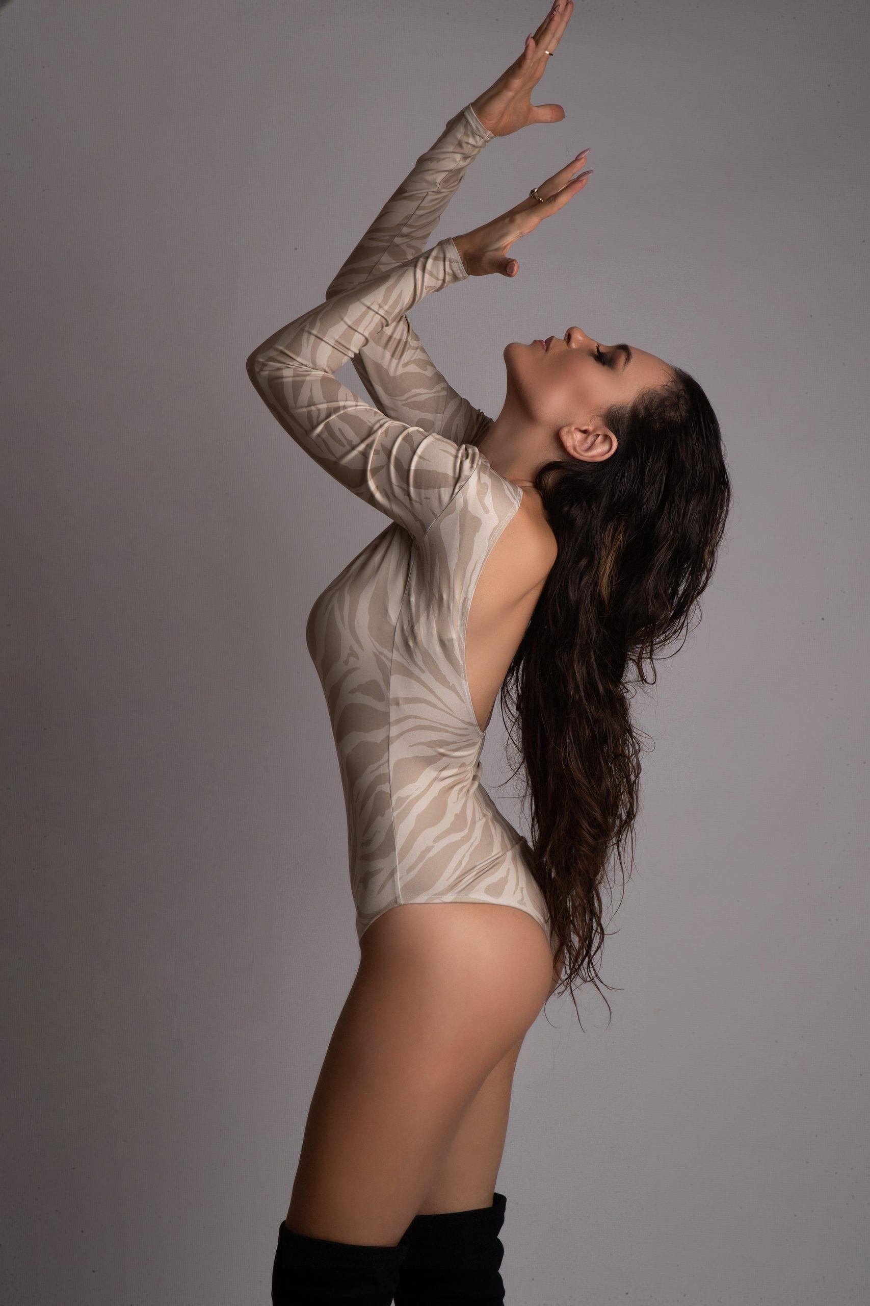 Eva Murati posing for Jungle Humans Brand