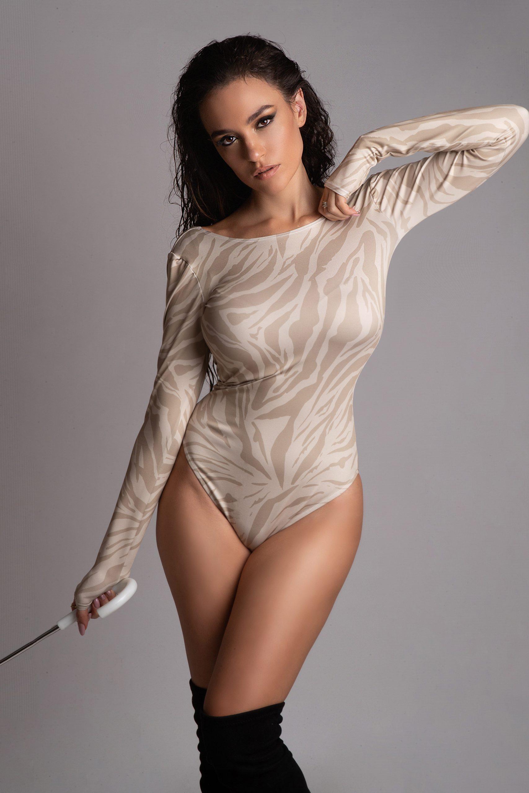 Eva Murati wearing a bodysuit animal pattern