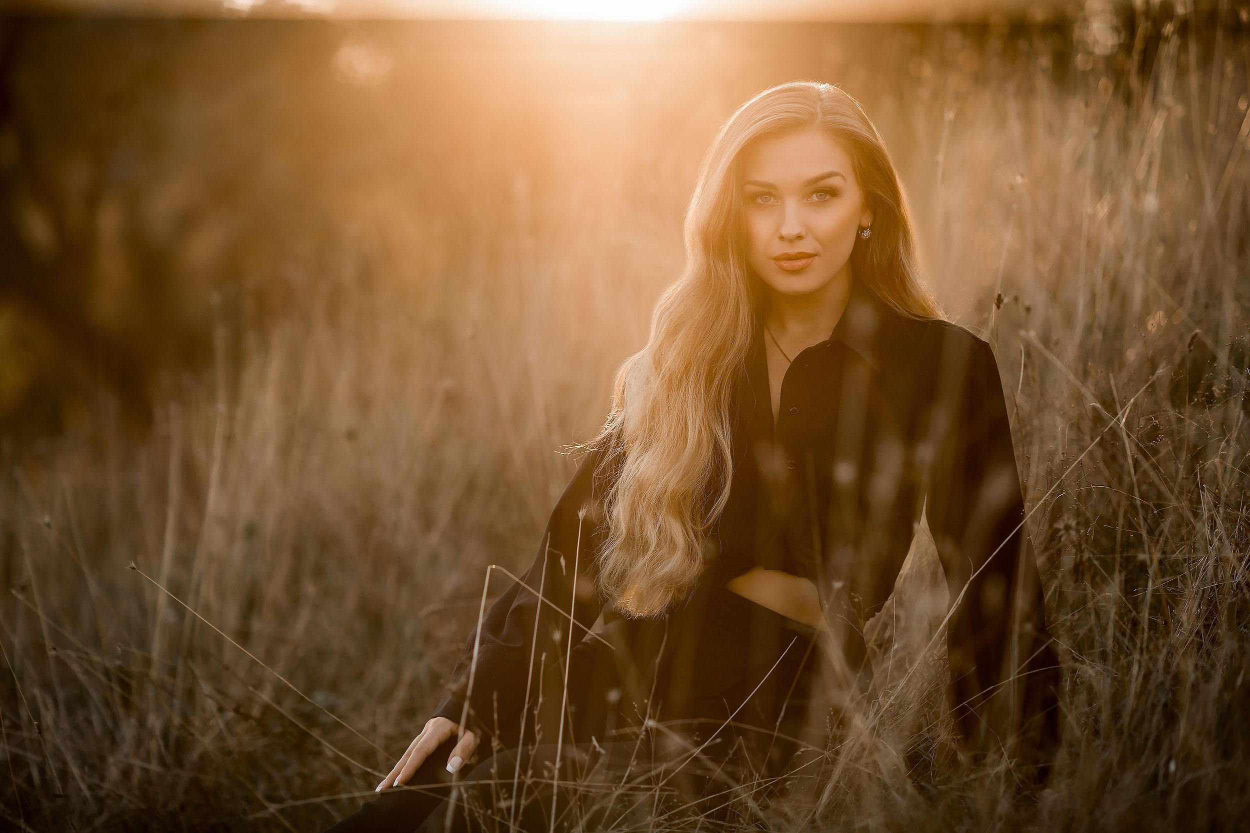 Girl posing during golden hour