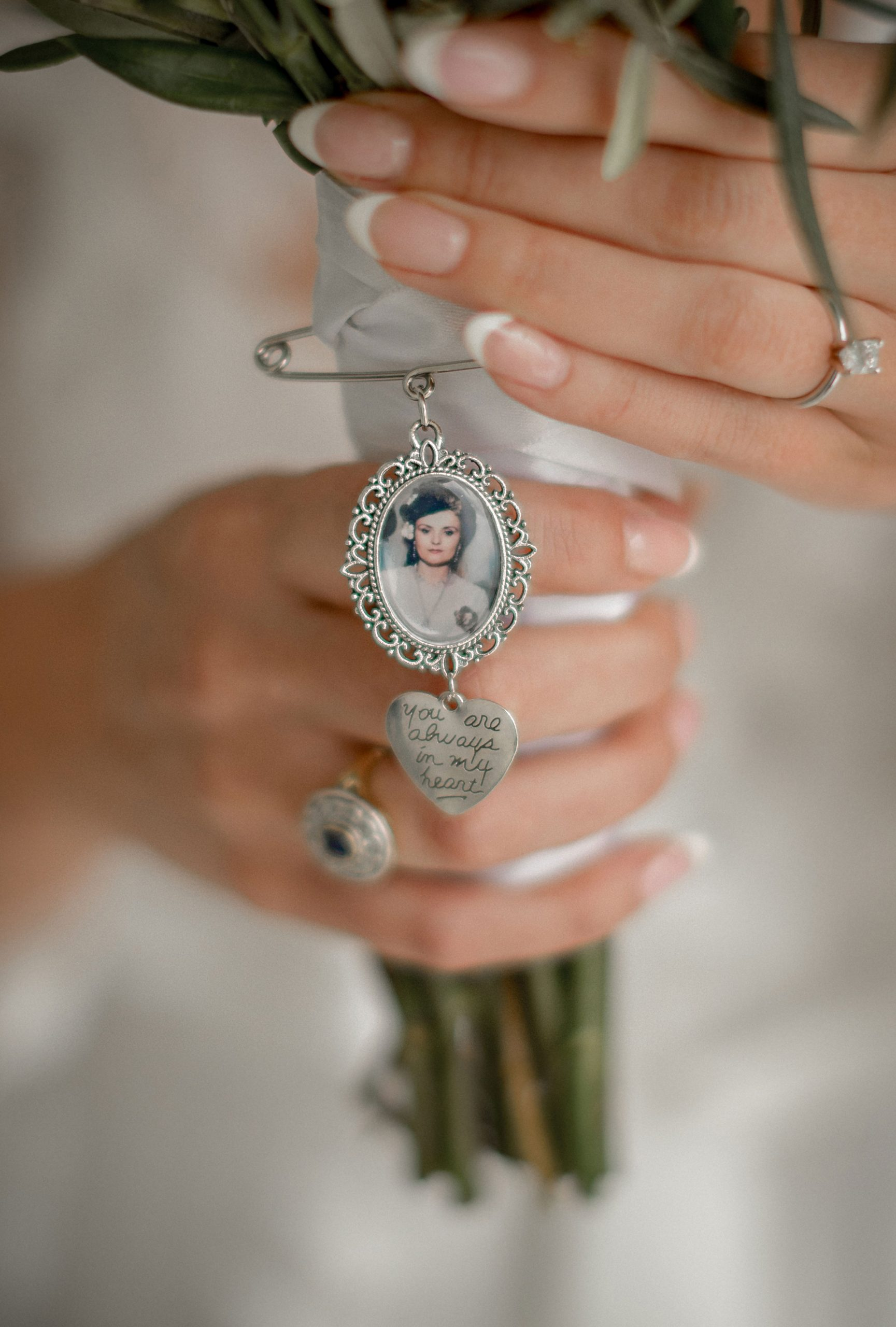 A locket with the bride's mother's picture