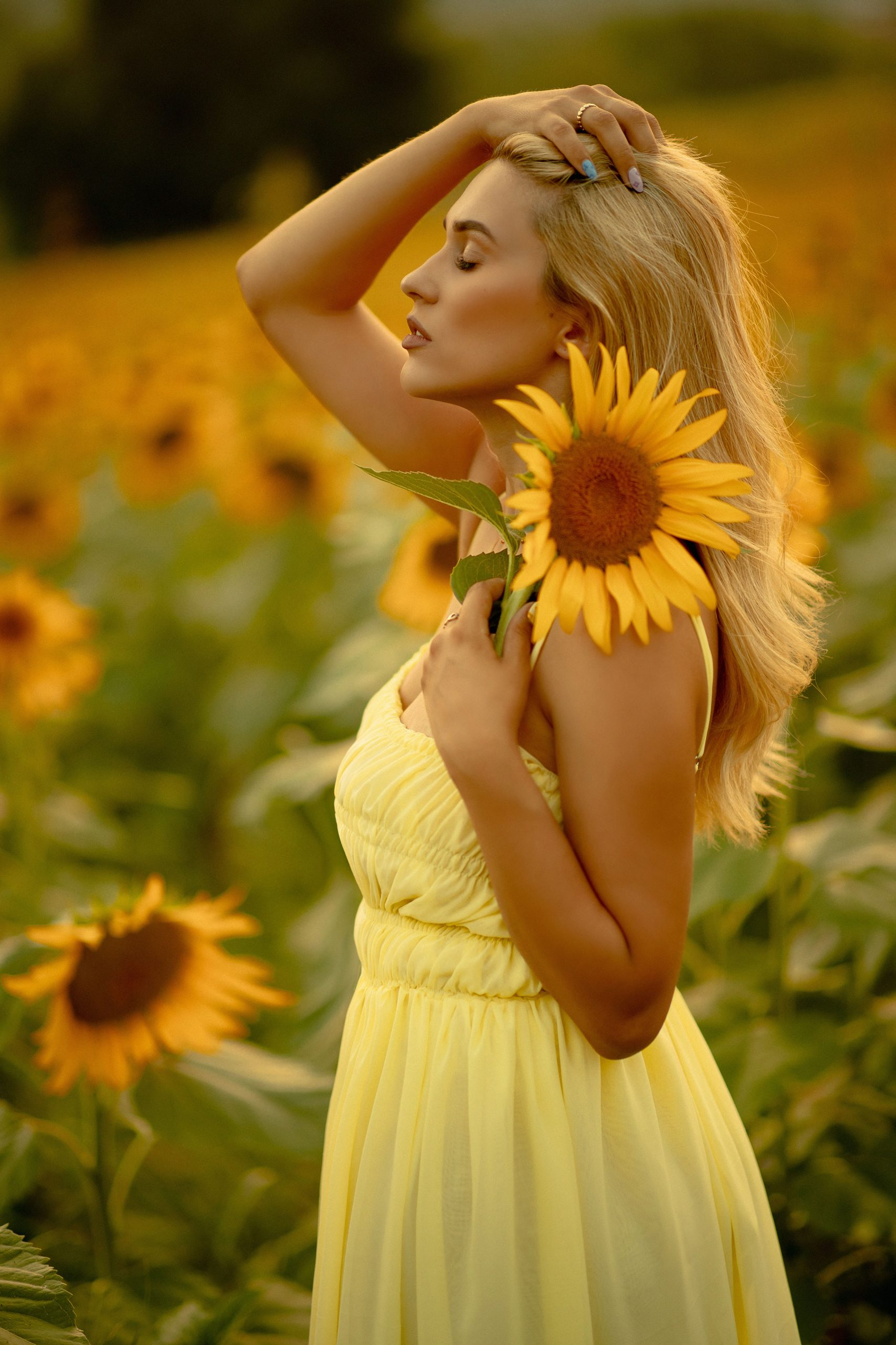 Blonde girl posing in nature with a sunflower on her hand