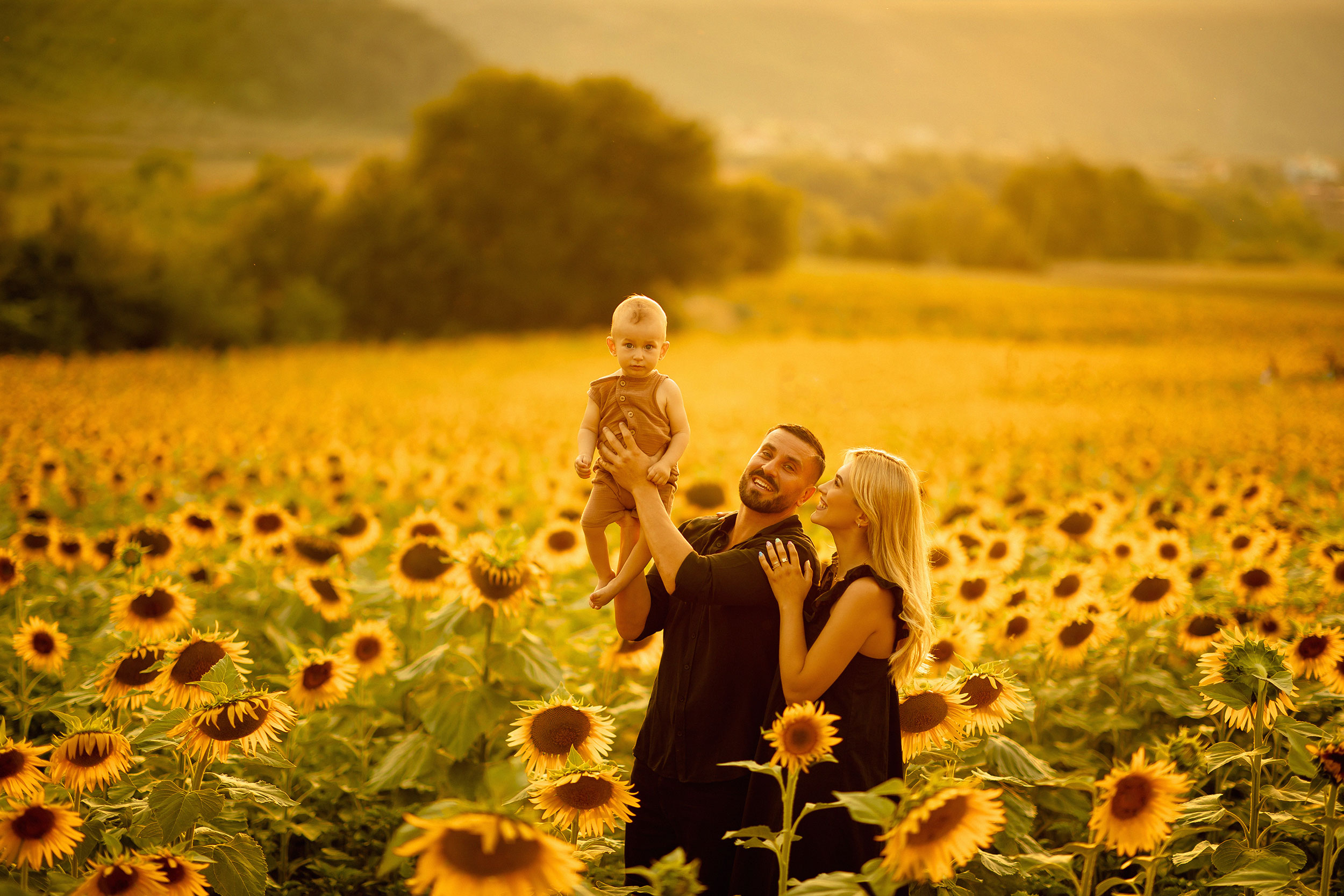 Family photos in a sunflower field