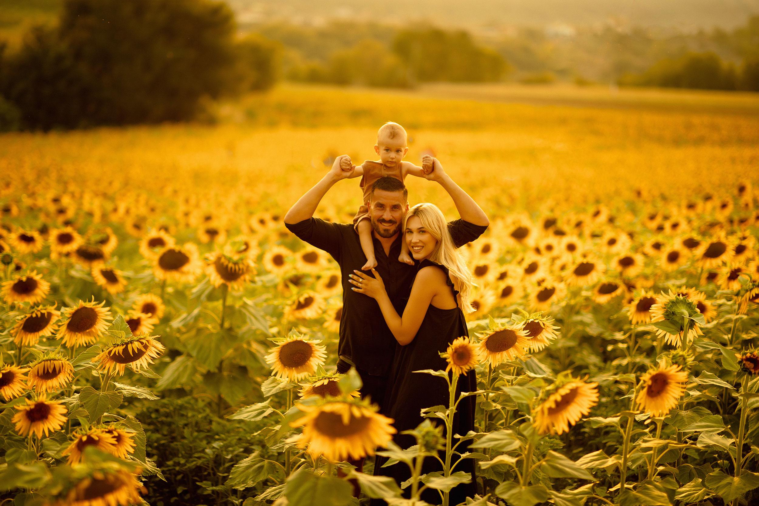 Sunflower field family photoshoot